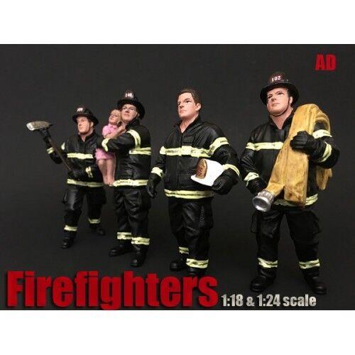 1 24 scale - FIREFIGHTING CREW OF 4 FIGURES - AMERICAN DIORAMA- figure figurine