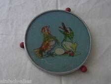 Alte Tortenplatte mit Ente und Huhn Motiv aus Alu für die Puppenstube drehbar