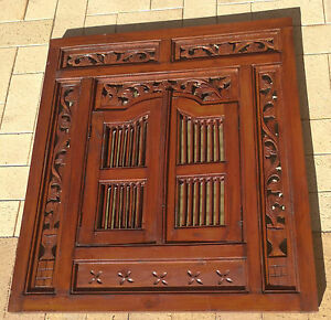 Balinese-Wall-Mirror-with-Doors-Stained-Timber-Asian-Ornamental-W-80cm-x-H-90cm