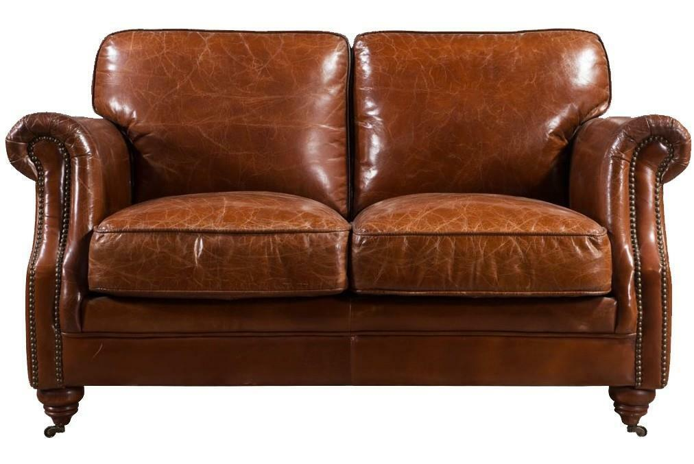 Details About Luxury Distressed Vintage Tan Leather Handmade Sofa 2 Seater Settee Retro