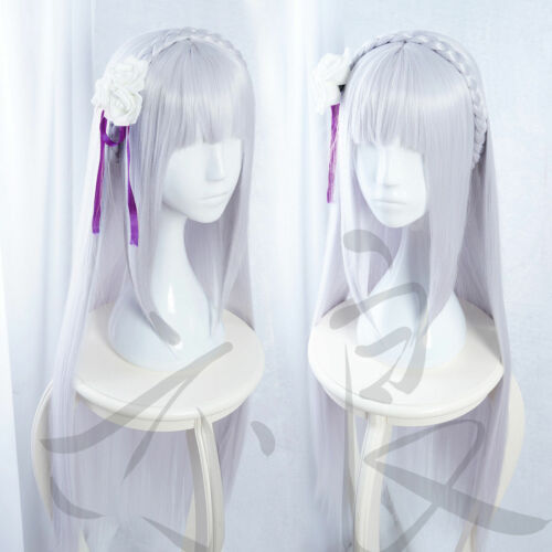 Re Zero Start Life In Another World Emilia EMT Silver Long Cosplay Wig