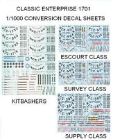 Star Trek Enterprise 1/1000 Scale Conversion Decals Escort, Survey, Supply & Kit