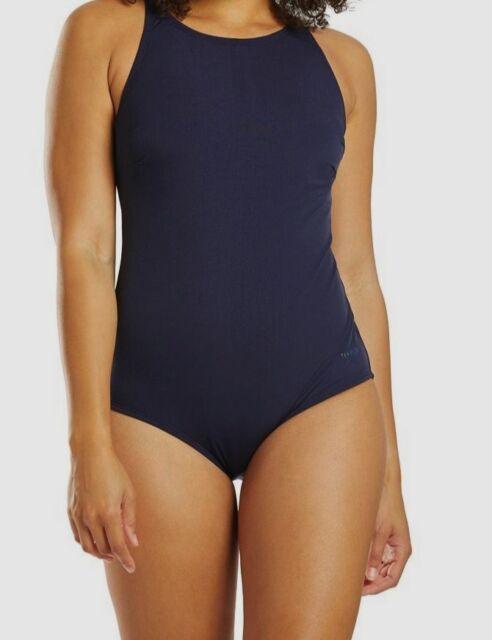 $75 Speedo Women's Blue Solid High Neck One-Piece Swimsuit Swimwear Size 10