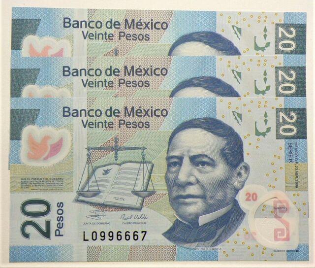 2009 Mexico 20 Pesos Serie K Lot of 3 Consecs UNC P122 #10323