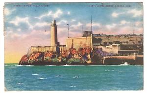 Vintage-Postcard-Morro-Castle-Fortress-of-Solid-Stone-Havana-Cuba-1937-K2