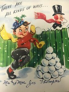 Vintage-Christmas-Card-Funny-Snowball-Fight-Comics-on-Parade-POP-Up