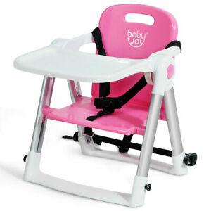 Baby-Seat-Booster-Folding-Travel-High-Chair-W-Safety-Belt-amp-Tray-Dining-Pink