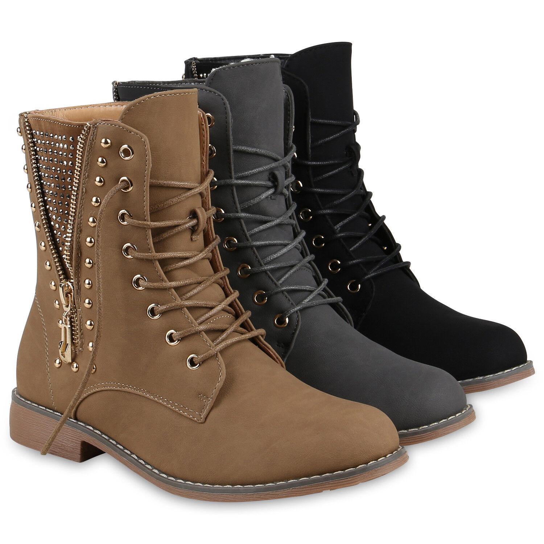 Warm Gefütterte Damen Stiefeletten Worker Boots Stiefel 813235 Schuhe