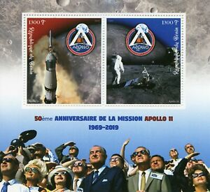 Space-Stamps-2019-MNH-Apollo-11-Moon-Landing-50th-Anniv-2v-M-S