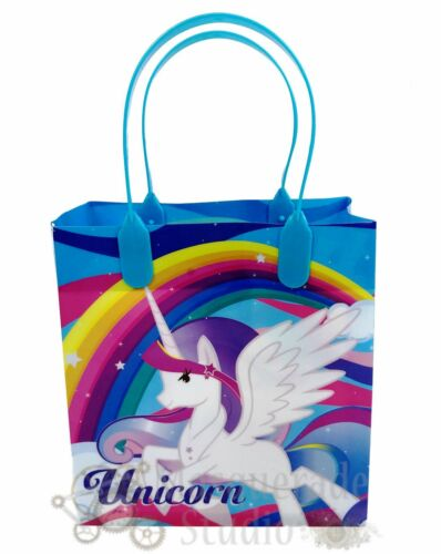 Rainbow Unicorn Party Favor Supplies Goody Loot Gift Bags for Girls 12ct