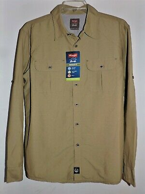 NWT Wrangler Mens Beige Button Down Shirt Western Relaxed Fit Pockets Sz XL