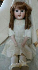 Superb-22-034-Antique-German-HH-Bisque-Doll-Kid-body-Blue-SL-eyes-Sausage-Curls-Wig