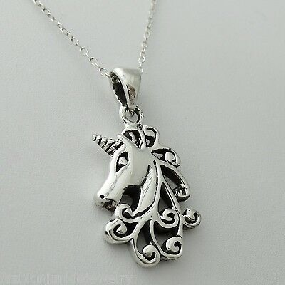 Unicorn Necklace - 925 Sterling Silver  Unicorns Pendant Mythical Fairy Tale NEW