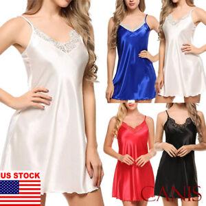 3f42398a460 Image is loading Women-Sexy-Sleepwear-Nightgown-Satin-Silk-Babydoll-Lace-