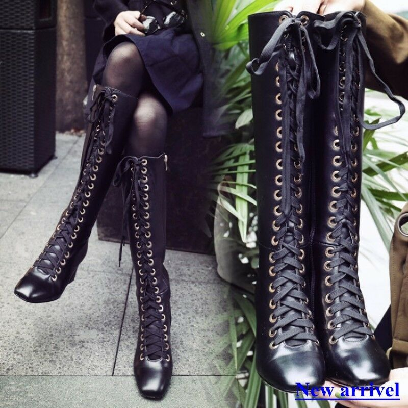 Ladies Womens Square Toe Lace Up Over The Knee High Boots HIgh Heel Riding shoes