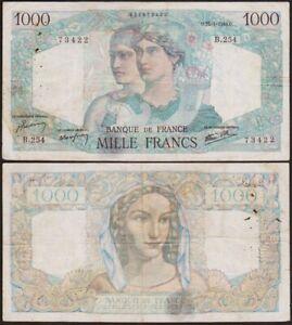 1000 FRANCS 1946 FRANCE - Minerve et Hercule - P130a (B.254)