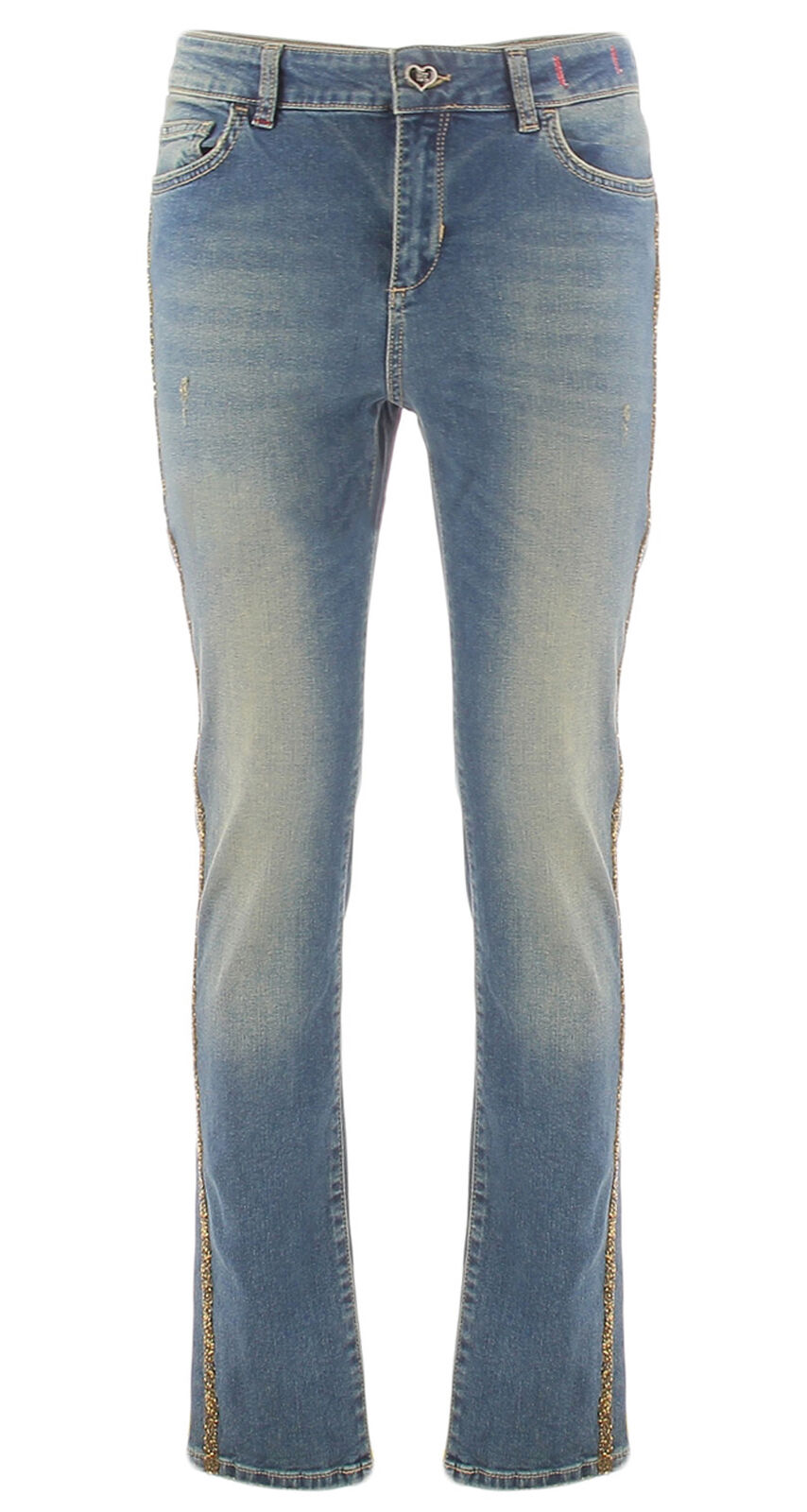 Elastic women's jeans with gold applications My Twin Twinset JA72S3DENIM