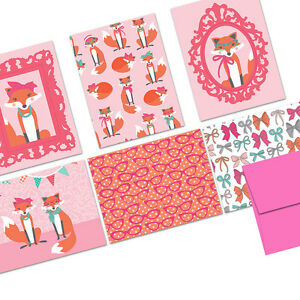 72 Note Cards - Haute Fox - 6 Designs - Hot Pink Envs