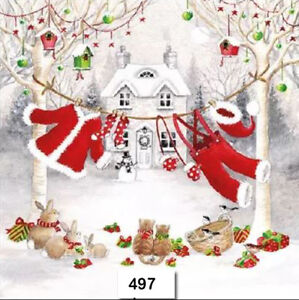 TWO Individual Paper Luncheon Decoupage Napkins SANTA SNOWMEN CHRISTMAS 399