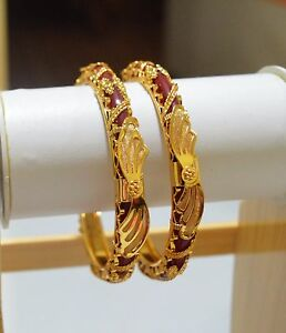 Indian-Traditional-Married-Women-Gold-Plated-Red-Pola-Set-Bangle-Bridal-Jewelry