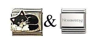 Genuine-Nomination-Link-plus-1-x-Italian-Charm-E123-Black-and-White-cat