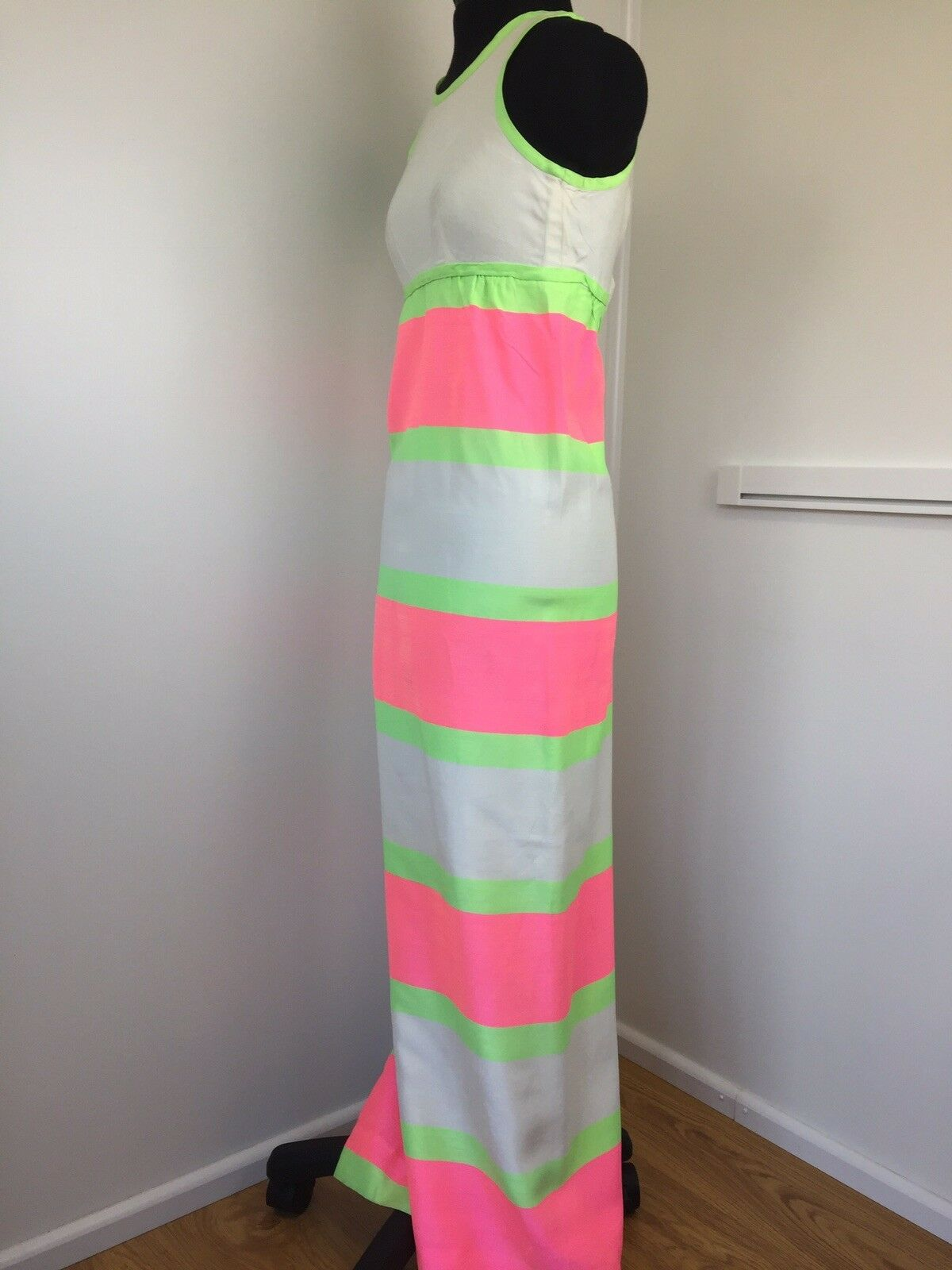 Jean Varon Ladies Vintage Maxi Shift Dress Neon Stripes Stripes Stripes Sleeveless Größe UK 8 271111