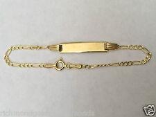 "14k Yellow Gold 5.4mm (7/32 Inch) Figaro Chain Child Kid Baby ID Bracelet 5.5"""