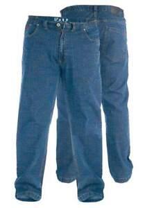 Duke-grande-para-hombre-Cintura-Elastica-tramo-Jeans-Azul-Stonewash-42-034-60-034-KS1541