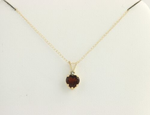 Garnet heart pendant necklace 10k yellow gold diamond accent 5 mozeypictures Images