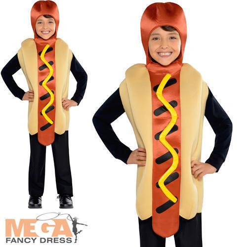 Hot Dog Jumpsuit Kids Fancy Dress American Food fun garçons filles Costume enfant