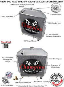 3 Row Ace Champion Radiator for 1942-1952 Ford Truck Chevy Conversion