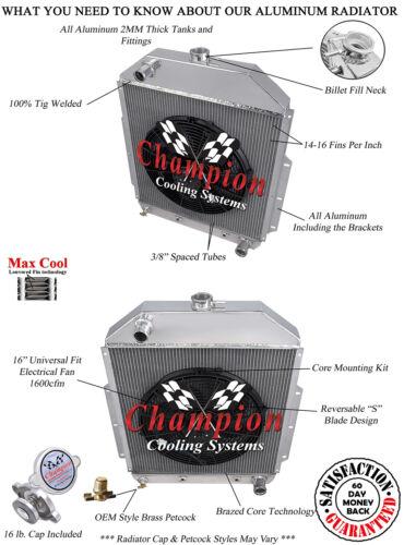 """1942-1952 Ford Truck 3 Row Advanced Radiator w// 16/"""" fan Chevy Config #CC4252CH"""