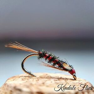 Holo-Red-Diawl-Bach-Jungle-Cock-Cheeks-size-12-Set-of-3-Fly-Fishing-Flies