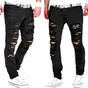 Details zu Herren Männer Jeans Dünn Löcher Jeanshose Slim Fit Hose Denim Clubwear