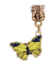 Yellow Black Butterfly Enamel Gold Tone Dangle Charm for European Bead Bracelets