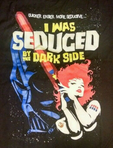 Seduced by the Dark Side Star Wars 70s poster t-shirt design