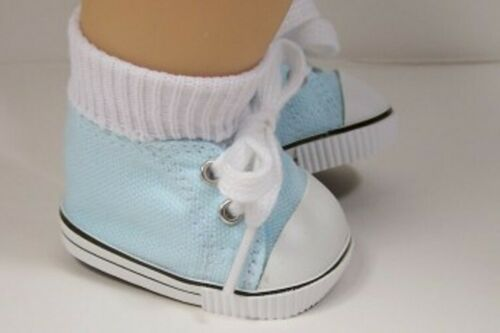 LT BLUE Canvas Tennis Deck Doll Shoes For Bitty Baby Boy or Girl /& Twins Debs