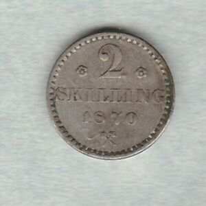 1870-NORWAY-SILVER-TWO-SKILLING-IN-GOOD-VERY-FINE-OR-BETTER-CONDITION