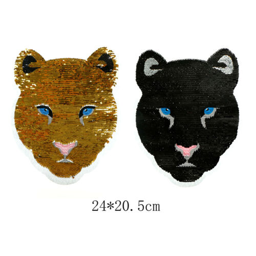 cheetah reversible change color sequins sew on patches for clothes diy patch GS