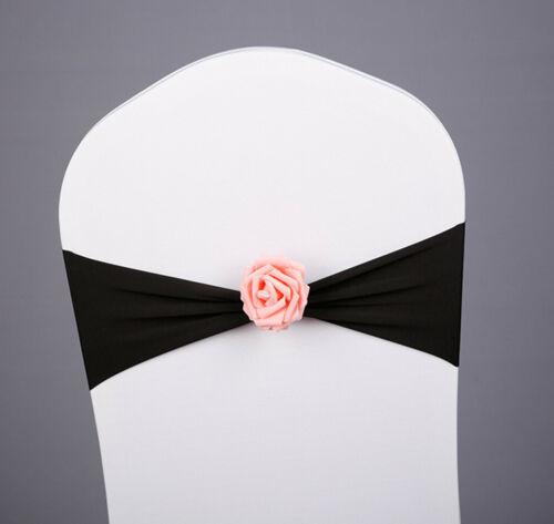 5//10//50PCS Spandex Stretch Chair Cover Band Sash Bow Wedding Party Banquet Decor