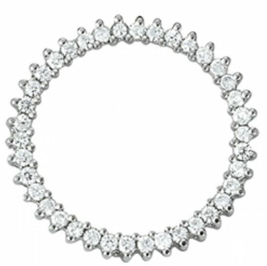 0.50 CT FOREVER ONE GHI MOISSANITE ROUND SHARE PRONG CIRCLE PENDANT