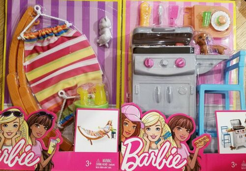 2016 Barbie Outdoor Furniture BACKYARD BBQ GRILL and HAMMOCK sets BRAND NEW!!