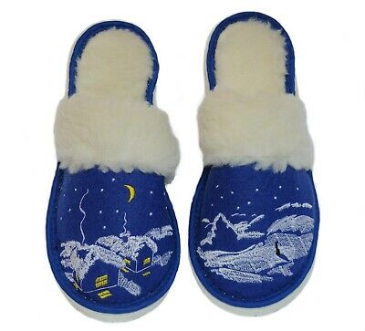 Russian Women/'s Blue Slippers Warm Cozy /& Not Slippery with Winter theme Scene