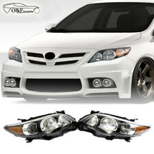 For 11 13 Toyota Corolla Headlights Black Housing Type S Replacement Headlamps