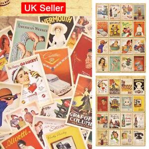 32pcs-Lot-Vintage-Postcards-Advertising-Bulk-Retro-Cards-Collection-Posters-inUK