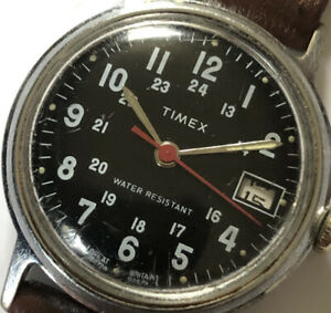 VINTAGE MILITARY TIMEX Watch 1979 DATE WORKING Mechanical Wristwatch Manual Wind