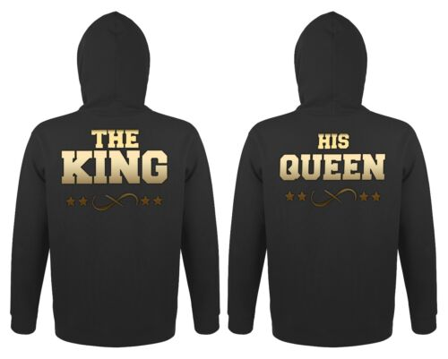 """Partner Pärchen Herren Damen Hoodies Pullover Set /""""The King /& His Queen/"""" Gold"""