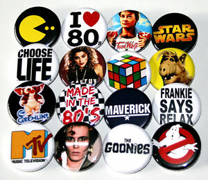 EIGHTIES-1980s-PARTY-BADGES-Set-of-16-Buttons-Pins-Lot