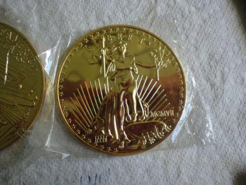 NOT A COIN HUGE 3 INCH  1907 SAINT GAUDENS $20 GOLD PIECE  COASTER  BRILLANT
