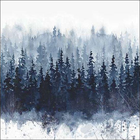 Carol Robinson  Indigo Forest IMMAGINE Telaio incastro Tela alberi abeti Blu